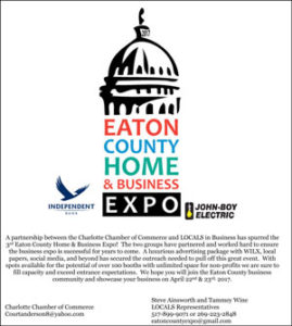 Eaton County Expo 2017 Vendor Application and floor plan.
